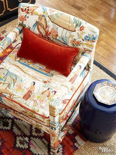 Chair upholstered in Chinoiserie fabric via Better Homes & gGardens
