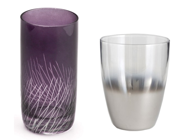 Amethyst Tumbler and Silver Glass