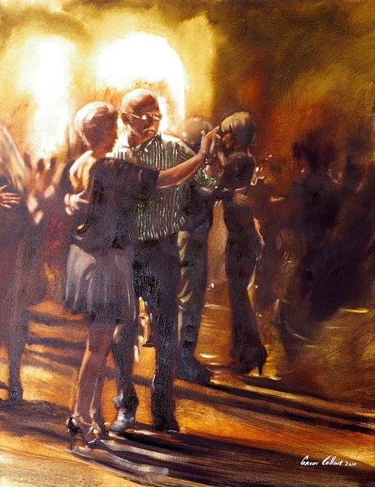Touching Painting of An Elderly Couple Dancing by Fine Artist, Gavin Collins