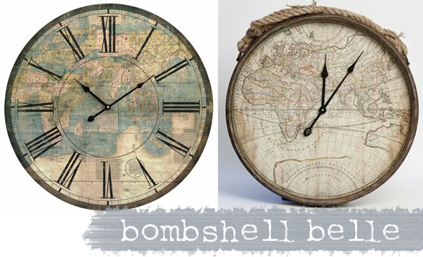 Wonderful wall clocks the design tabloid found these awesome vintage map clocks on bombshell gumiabroncs Gallery