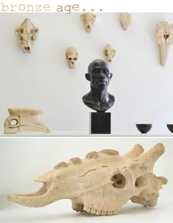 Carved Timber Skulls by Bronze Age Art