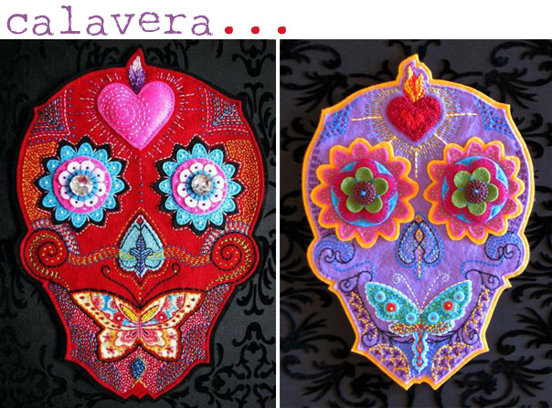 Hand Embroidered Skulls by Calavera