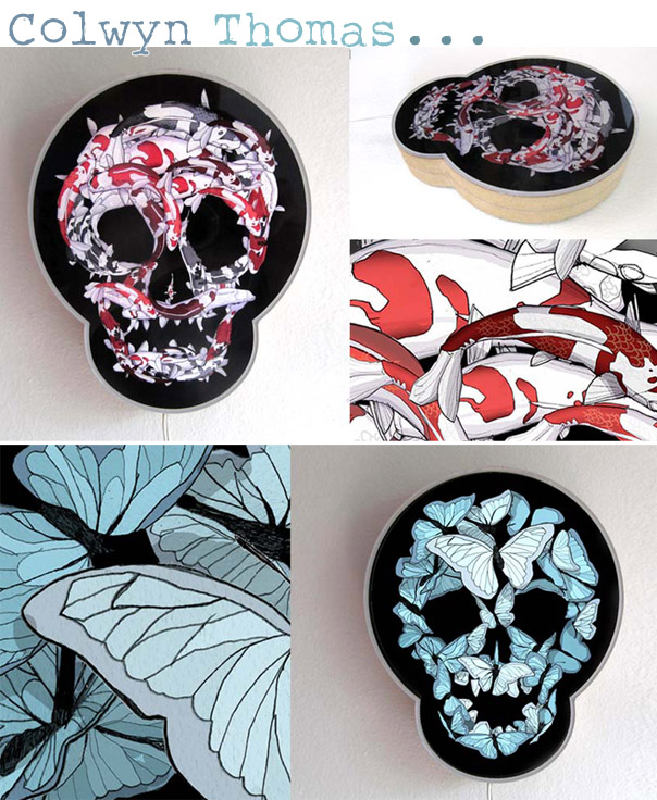 Skull Light Boxes by Colwyn Thomas