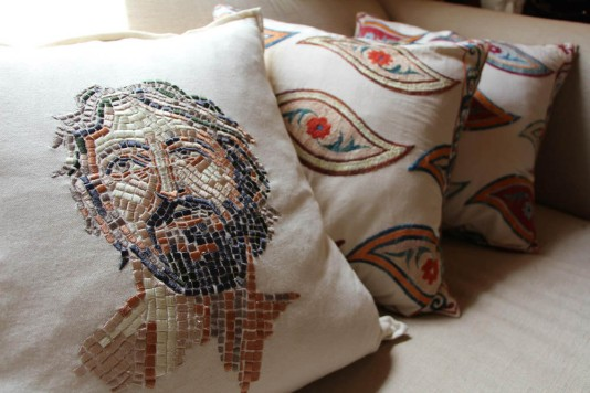 Chandler's Embroidered Mosaic Mason Scatter Cushion with a gorgeous collection of Suzani Cushions.