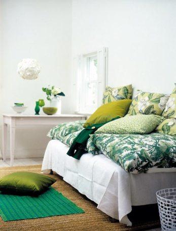 Shades and hues of green   via Apartment Therapy