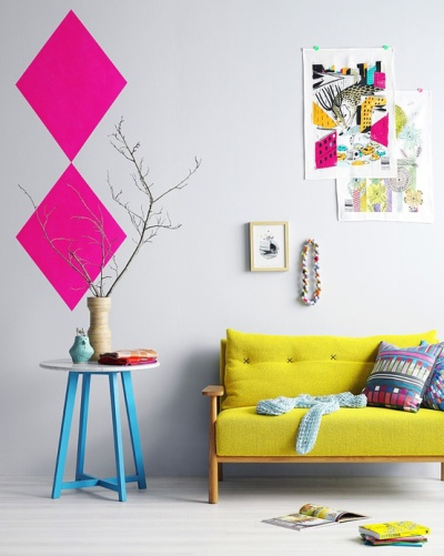 Lounge with neon pops   via craft victoria