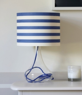"""Use a striped wallpaper like this """"Closet Stripe"""" design from Farrow & Ball for a lamp with nautical flair."""