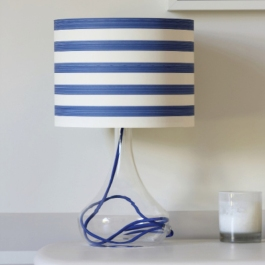 "Use a striped wallpaper like this ""Closet Stripe"" design from Farrow & Ball for a lamp with nautical flair."