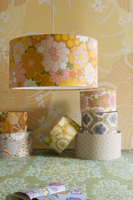 These gorgeous lampshades were made with original 60's & 70's vintage wallpaper.