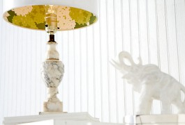 A beautiful and elegant wallpaper lined lampshade.