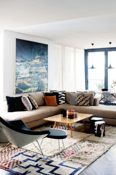 Fiona Lyda's Sidney apartment - love all the pattern and texture | http://www.homelife.com.au/homes/galleries/sydney+apartment+renovation,14073?pos=2