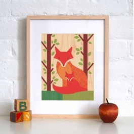 Some lovely framed foxy art | http://www.rosenberryrooms.com/