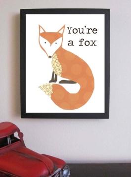 """You're a Fox"" Nursery Art by FitToPrintDesigns on Esty | http://www.etsy.com/listing/90854403/childrens-decor-youre-a-fox-nursery-art"
