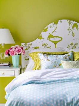 Wallpaper pasted unto a traditionally headboard-shaped template | via http://www.bhg.com