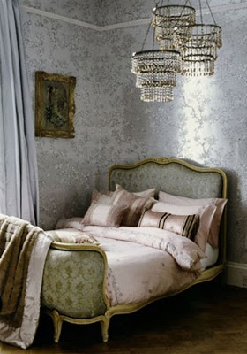 I love the demure yet moody colour palette of this gorgeous French boudoir bedroom.