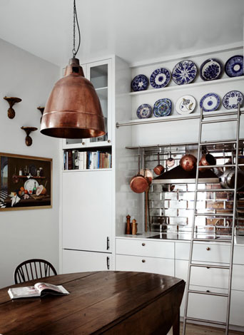 Love this kitchen with its silver / antiqued mirror subway tiles and big copper industrial light designed by Templeton | via http://www.desiretoinspire.net/blog/2012/8/29/templeton.html