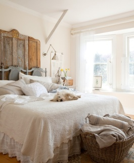 Love this bedroom with it's amazing rustic door headboard - decorated by Meagan Camp, featured in Rue Magazine | http://www.ruemag.com/gallery