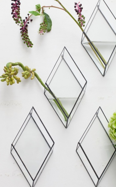 Absolutely LOVE these diamond-shaped glass wall vases by Japanese company, 1012 TERRA | via http://blog.justinablakeney.com/2013/02/1012-terra.html