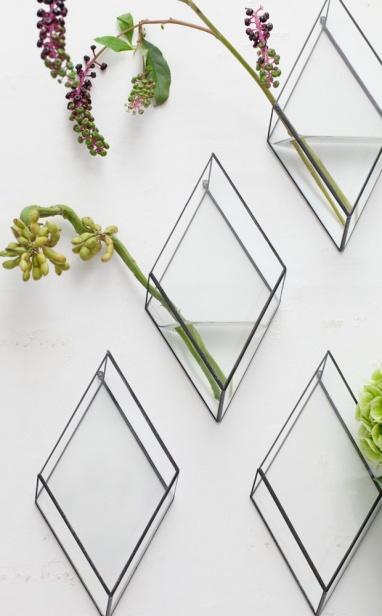 Absolutely LOVE these diamond-shaped glass wall vases by Japanese company, 1012 TERRA | via http://blog.justinablakeney.com/2013/02/1012-terra.html