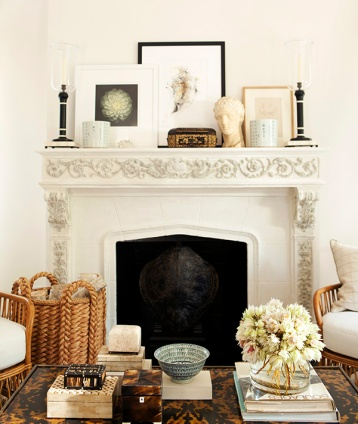 Designer Mark D Sikes adds a touch of the classical to this lovely mantle vignette! | via http://amyneunsinger.com/photo-portfolio/home/#prettyPhoto