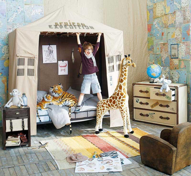 African safari!! | via http://www.maisonsdumonde.com/UK/en/produits/fiche/savannah-childs-tent-135214.htm