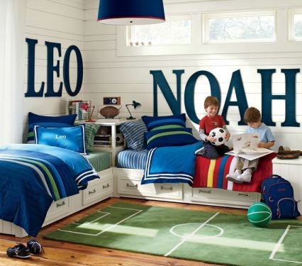 If you have boys sharing a room this is a clever alternative to bunk beds! | via http://www.potterybarnkids.com/products/painted-letters/