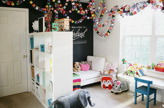 Blackboard wall and colourful paper garlands | via http://blog.studiopebbles.com/thegoodlife/2012/06/playroom_office_share.html