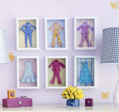 Simply adorable wall décor for your little girl's bedroom - framed Barbie clothes | via http://www.apartmenttherapy.com/good-idea-make-wall-art-out-of-155833