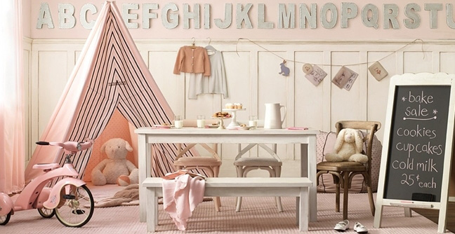 Love this pale pink playroom with beautiful teepee tent | via http://www.amazinginteriordesign.com/decorate-your-childs-room-or-playroom-with-a-teepee/