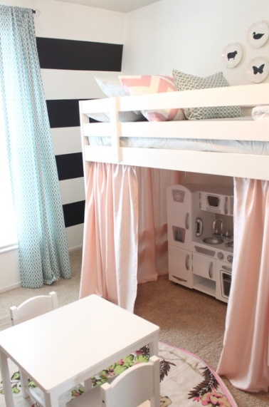 This gorgeous bunkbed setup allows space for this girl's little play kitchen | via http://danielleoakeyinteriors.blogspot.com/2012/03/loft-bed-is-white.html