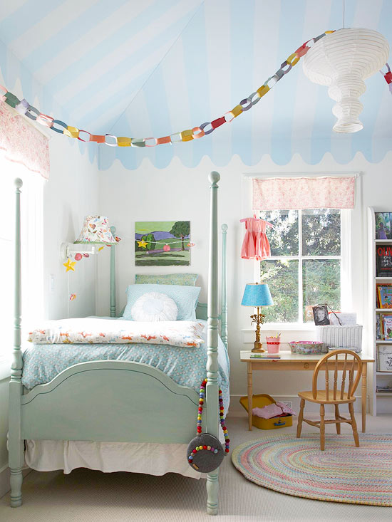 Who said a girl's bedroom needs to be pink! Love this pale blue bedroom! | via http://www.bhg.com/blogs/centsational-style/2013/06/09/colorful-girls-rooms/