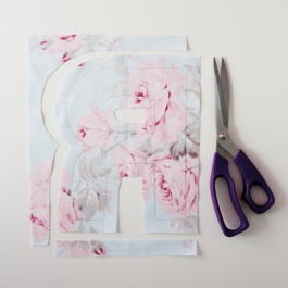 6) Cut out the fabric along the new outline that you have drawn.