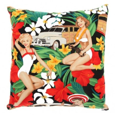 Pin-up style retro cushion from Jeez Louise - available through 5rooms.com | http://www.5rooms.com/jeez-louise-beach-babes-cushion-10883.html