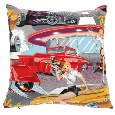 Pin-up style retro cushion from Jeez Louise - available through 5rooms.com | http://www.5rooms.com/jeez-louise-phil-s-diner-cushion-10891.html