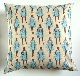 50s ladies scatter cushion by Jesse Breytenbach | http://www.jessebreytenbach.co.za/henri-kuikens-block-printed-textiles/cushion-covers/