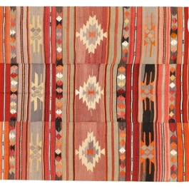 A stitched Turkish kilim from the 1950s featuring a stripe-like design | via https://www.onekingslane.com/product/15241/753183