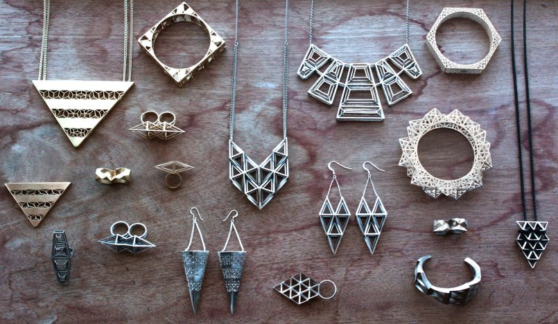 3D printed geo jewellery by Fathom & Form | via https://www.facebook.com/FathomandForm/photos_stream