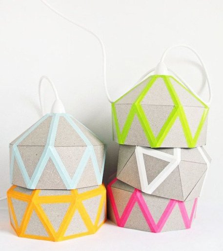 The geo DIY Quilt Light by Tamara Maynes complete with Neon washi tape | via http://www.tamaramaynes-latest.blogspot.com/2012/09/5912-wanna-hang-with-me.html