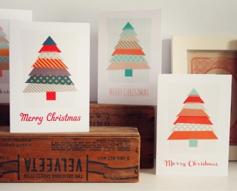 Washi Tape Christmas cards by What Katie Does via Etsy | via http://www.etsy.com/listing/115222742/pack-of-5-modern-christmas-cards-washi