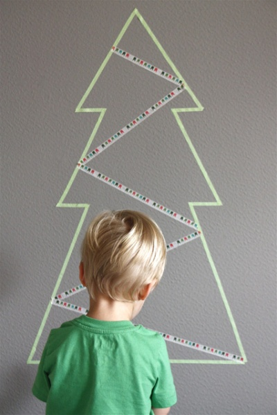Just give the kids a roll of washi tape and they can add their own personal touch to your tree | via http://www.modernparentsmessykids.com/2012/12/make-it-washi-tape-tree.html