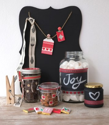 Our girl Lana Kenney over at Lanalou Style styled her lovely Consol items in traditional white, black & red... LOVE the chalkboard jars! | http://lanaloustyle.com/2013/12/get-crafty-this-christmas.html