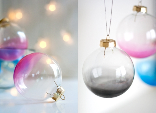 Traditional yet ethereal and trendy - this DIY shows you how to give glass balls the Ombre effect | via http://www.ambrosiagirl.com/blog/ombre-glass-ornaments/