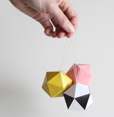 DIY folding paper ornaments from Snug Studio | via http://snugonline.bigcartel.com/product/snug-christmas-balls-diy