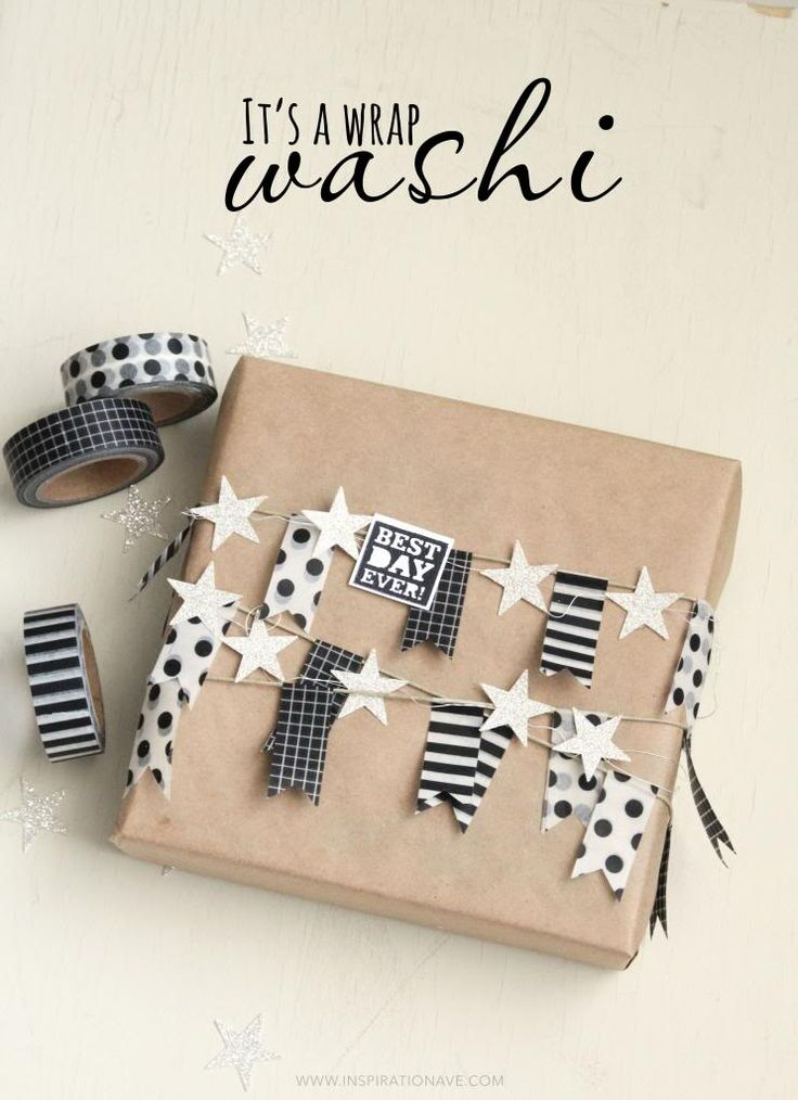 Amy from Inspiration Ave created this amazing gift. I simply adore the black & white washi tape bunting. SO cute! | via http://www.inspirationave.com/index.php/blog/item/154-no-65-washi-packaging