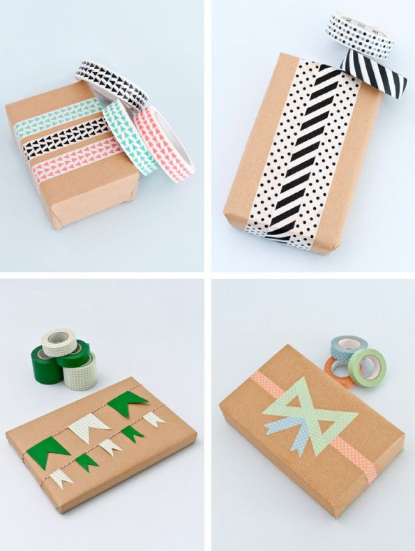 A few uncomplicated brown paper and washi tape ideas from Papermash.co.uk via Lucky Pony   via http://luckypony.co.za/wrap-it-up-all-nice-and-pretty/