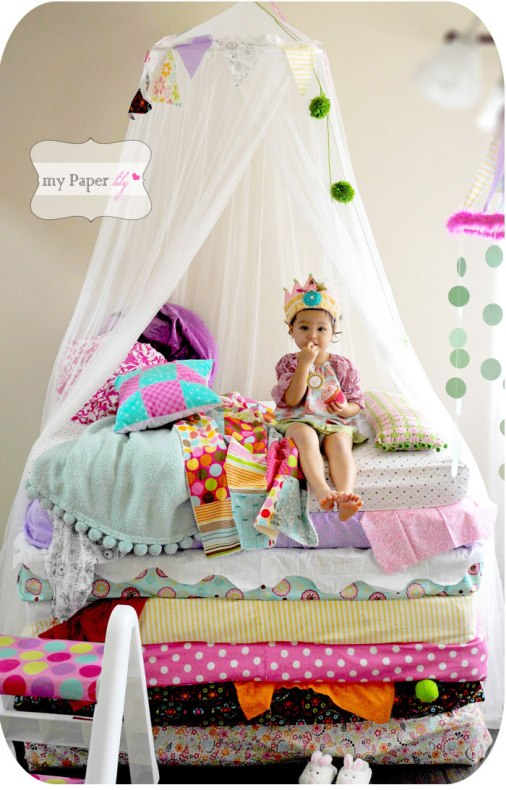 Lovely little princess - reminds me so of my granddaughter | via http://mypaperlily.blogspot.com/2011/10/party-fun-my-daughters-princess-and-pea.html