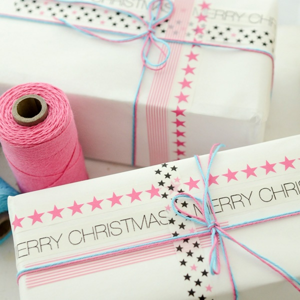 Vanessa Spencer created these beautifully wrapped presents for Stampington & Company. All it took was some white craft paper, washi tape and some string - love the colour combo | via http://stampington.com/free-how-to-project-Wish-Upon-a-Star-Packages-Project