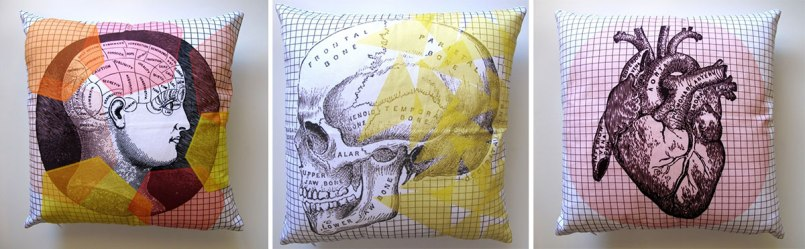 Love these trendy scatter cushions featuring old anatomical drawings juxtaposed with colourful geos by Keri Muller of Simple Intrigue | via https://hellopretty.co.za/simpleintrigue/anatomy-101-cushion-covers
