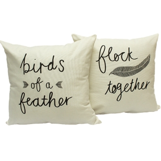 You know they say birds of a feather flock together - LOVE this quirky cushion set by Zana | via http://zanaproducts.co.za/shop/birds-of-a-feather-flock-together-pillow-cover-set/