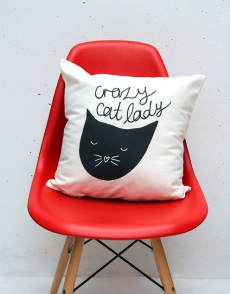 Whether you are a cat lover or not you have to admit this Crazy Cat Lady scatter cushion by Zana is pretty adorable! | via http://zanaproducts.co.za/shop/crazy-cat-lady-throw-cushion-cover/